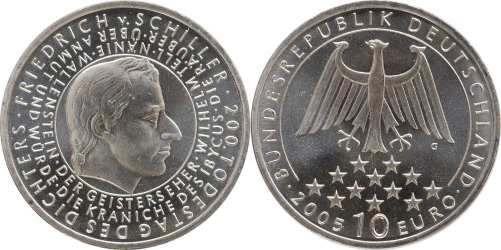 Lieferumfang:Deutschland : 10 Euro 200. Todestag Schiller  2005 bfr