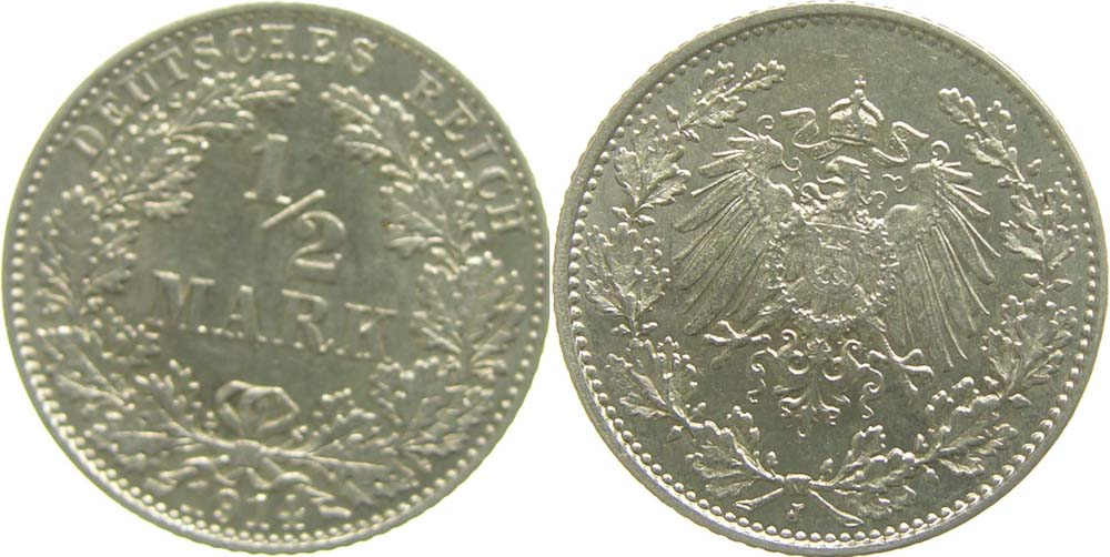 Übersicht:Deutschland : 1/2 Mark   1914 vz/Stgl.