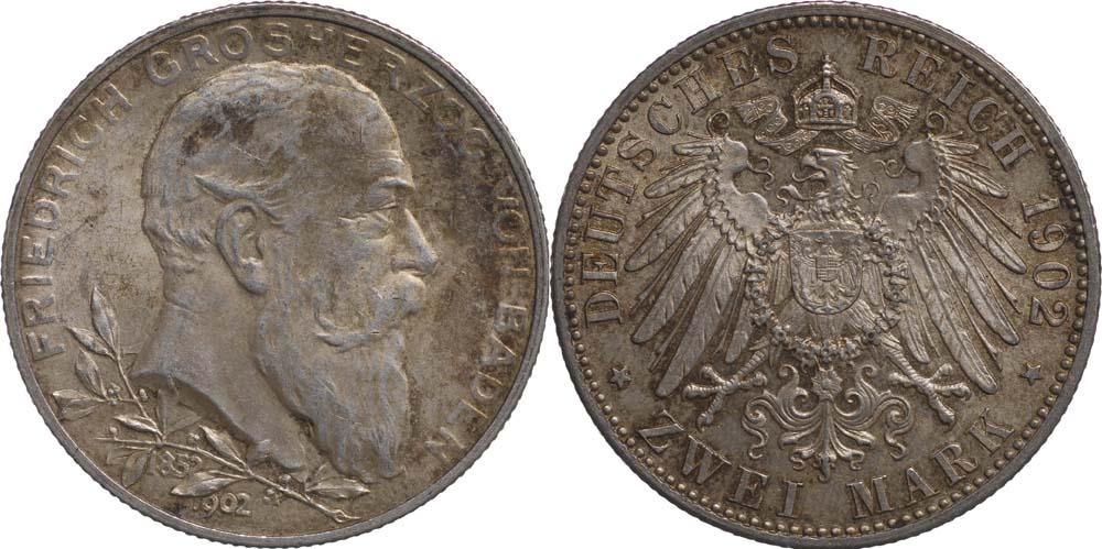 Übersicht:Deutschland : 2 Mark Friedrich I. patina 1902 vz/Stgl.