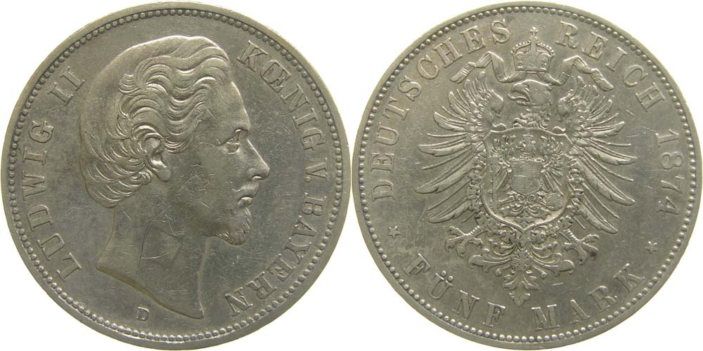 Deutschland : 5 Mark Ludwig II.  1874 ss.