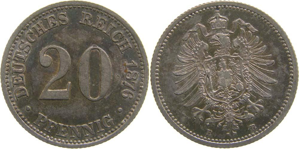 Übersicht:Deutschland : 20 Pfennig  patina 1876 vz.