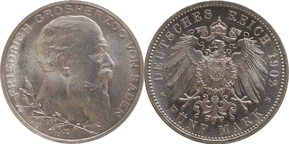 Übersicht:Deutschland : 5 Mark Friedrich I. -fein- 1902 Stgl.