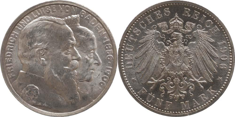 Übersicht:Deutschland : 5 Mark Friedrich u. Luise -fein- 1906 Stgl.