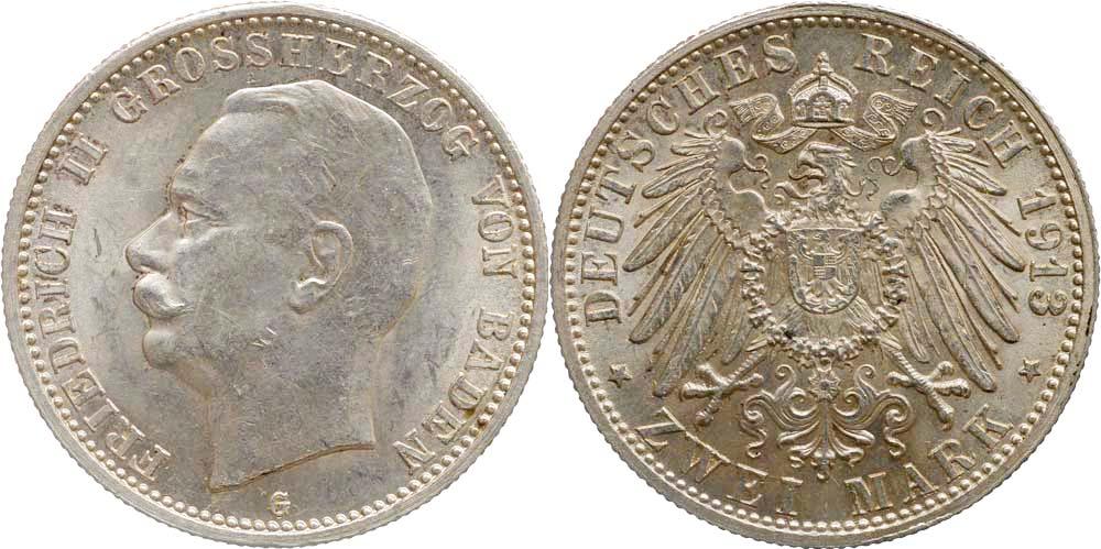 Lieferumfang:Deutschland : 2 Mark Friedrich II.  1913 Stgl.