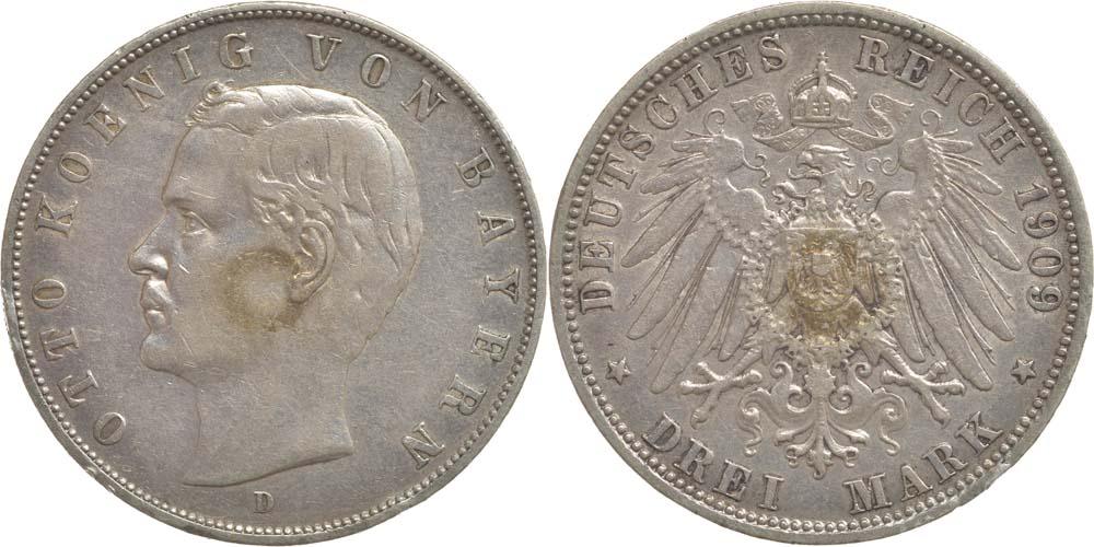 Deutschland : 3 Mark Otto  1909 ss.