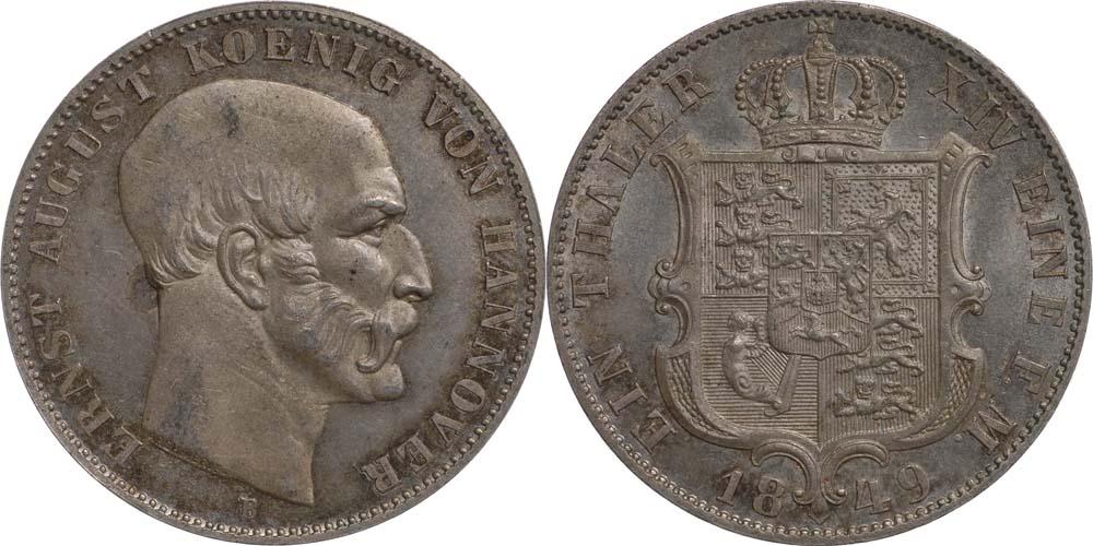 Lieferumfang:Deutschland : 1 Taler Ernst August patina 1849 vz/Stgl.
