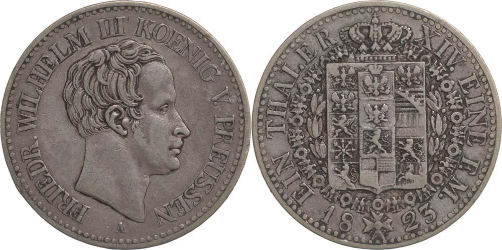 Lieferumfang:Deutschland : 1 Taler Friedrich Wilhelm III. patina 1823 ss/vz.
