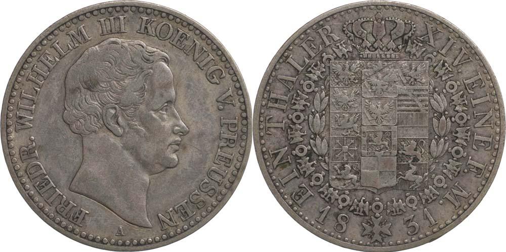 Übersicht:Deutschland : 1 Taler Friedrich Wilhelm III. patina 1831 ss/vz.