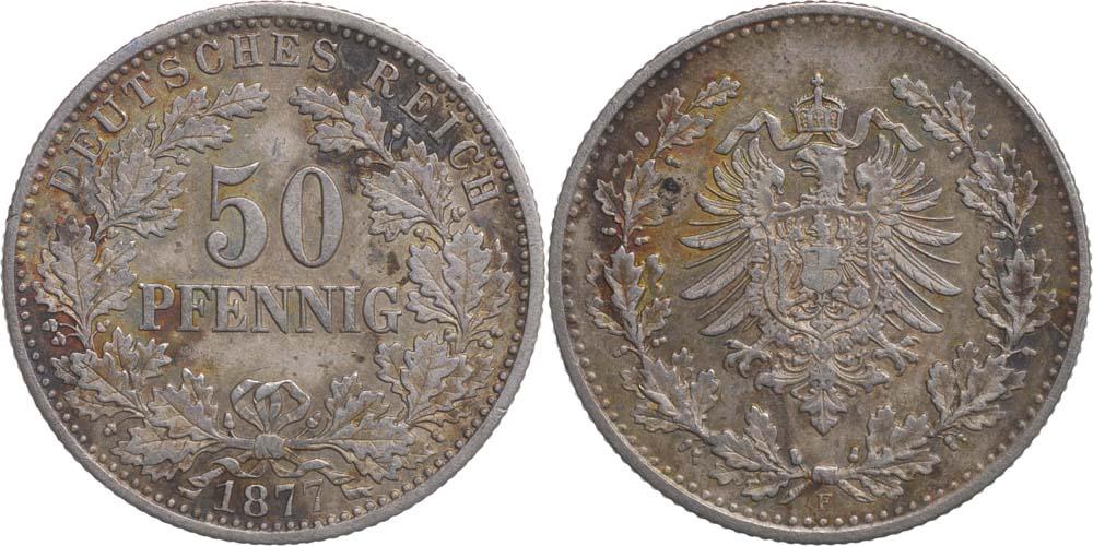 Deutschland : 50 Pfennig  patina 1877 ss.