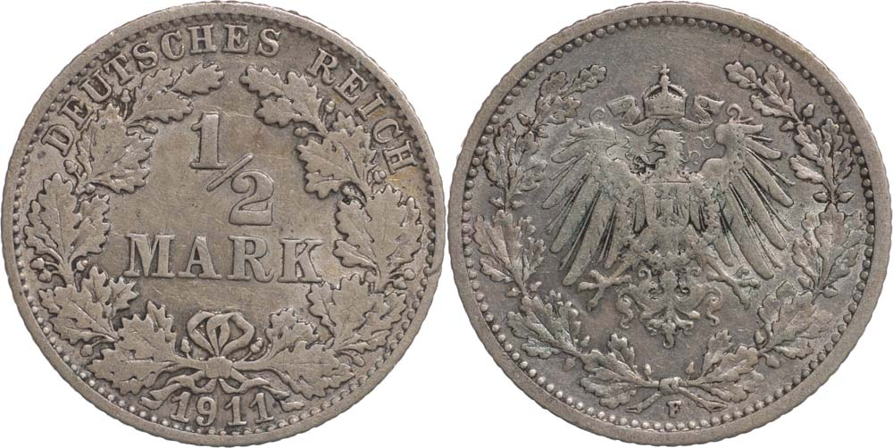Übersicht:Deutschland : 1/2 Mark   1911 ss+