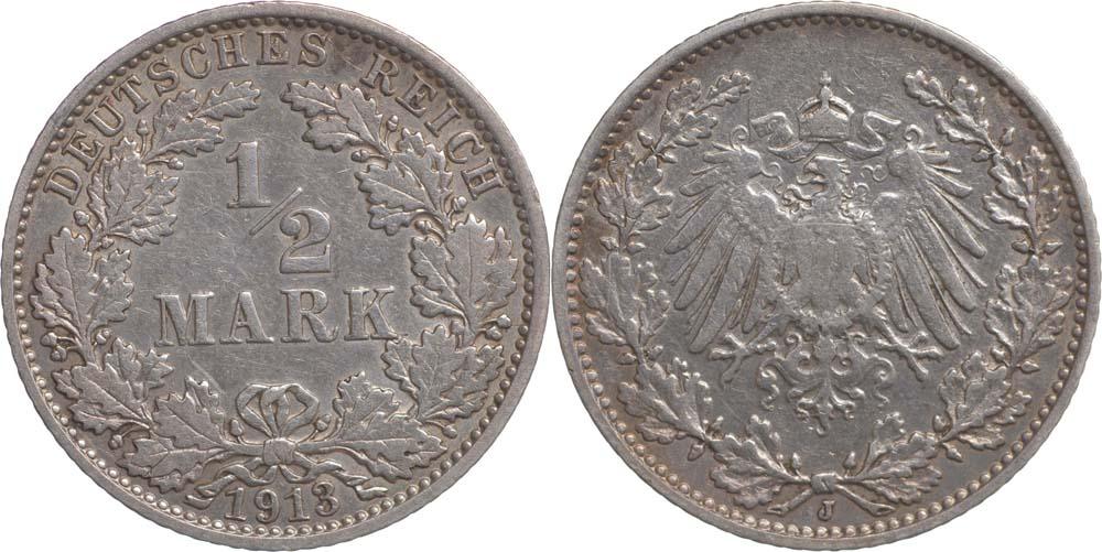 Übersicht:Deutschland : 1/2 Mark   1913 ss.