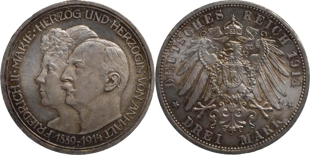 Lieferumfang:Deutschland : 3 Mark Friedrich II. u. Marie patina 1914 Stgl.