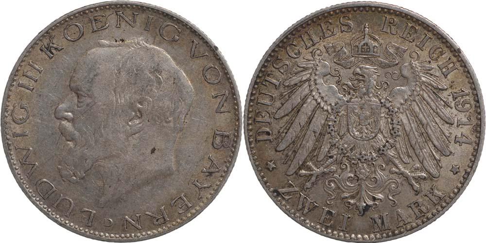 Übersicht:Deutschland : 2 Mark Ludwig III. patina 1914 vz.