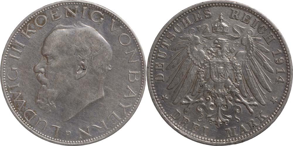 Übersicht:Deutschland : 3 Mark Ludwig III. patina 1914 vz.