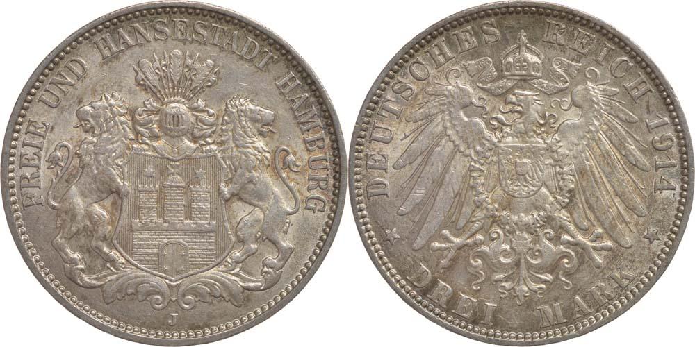 Deutschland : 3 Mark  patina 1910 vz.
