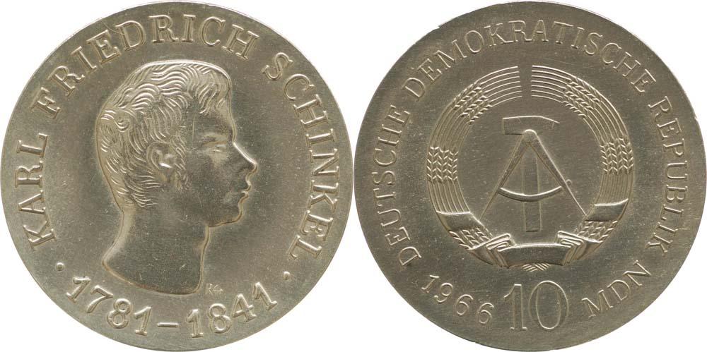 Übersicht:DDR : 10 Mark Karl Friedrich Schinkel  1966 Stgl.