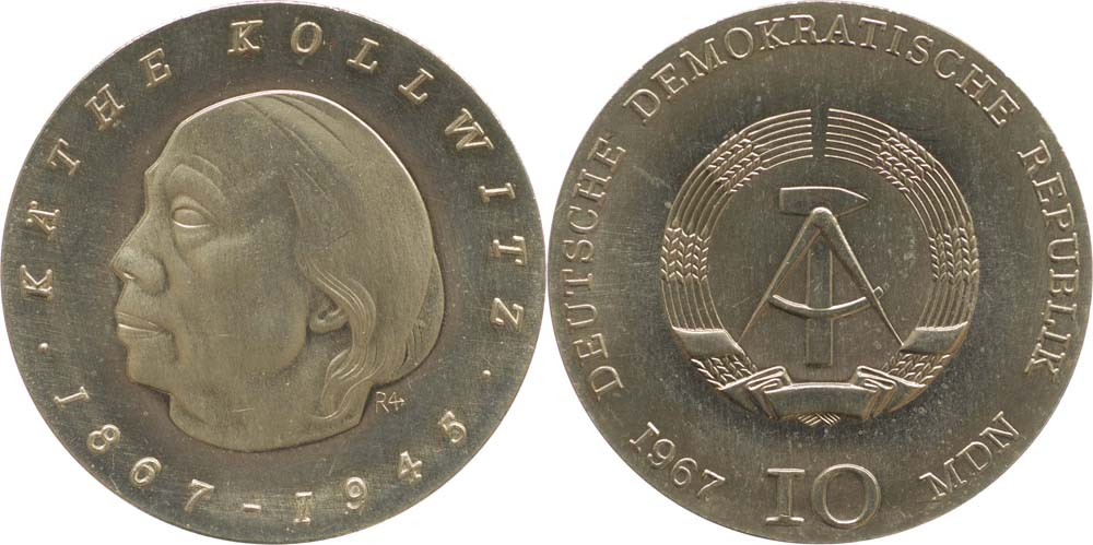 Lieferumfang:DDR : 10 Mark Käthe Kollwitz  1967 Stgl.
