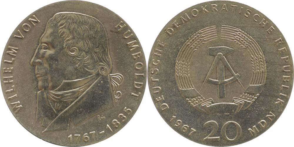Lieferumfang:DDR : 20 Mark Wilhelm von Humboldt  1967 Stgl.
