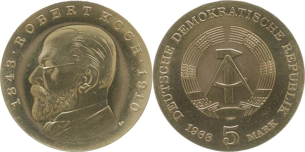 Lieferumfang:DDR : 5 Mark Robert Koch  1968 Stgl.