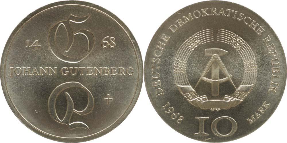 Übersicht:DDR : 10 Mark Johann Gutenberg  1968 Stgl.