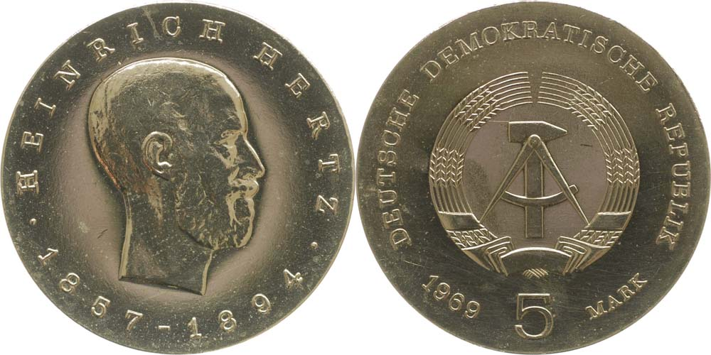 DDR : 5 Mark Heinrich Hertz  1969 Stgl.