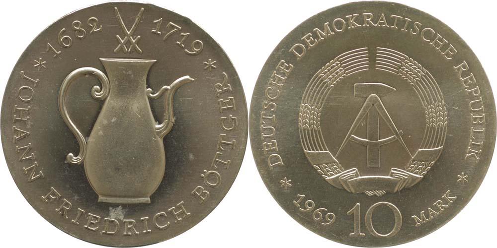 Lieferumfang:DDR : 10 Mark Johann Fr. Böttger  1969 Stgl.