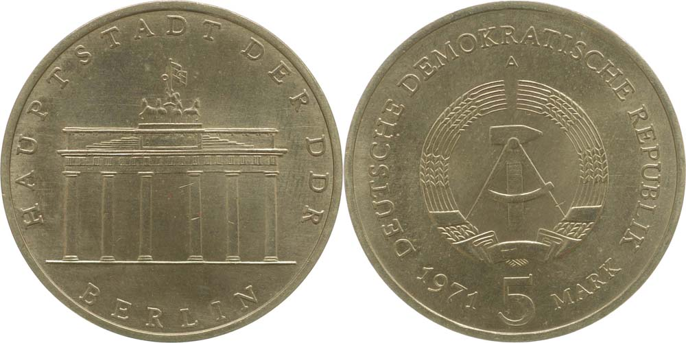 DDR : 5 Mark Brandenburger Tor  1971 vz.