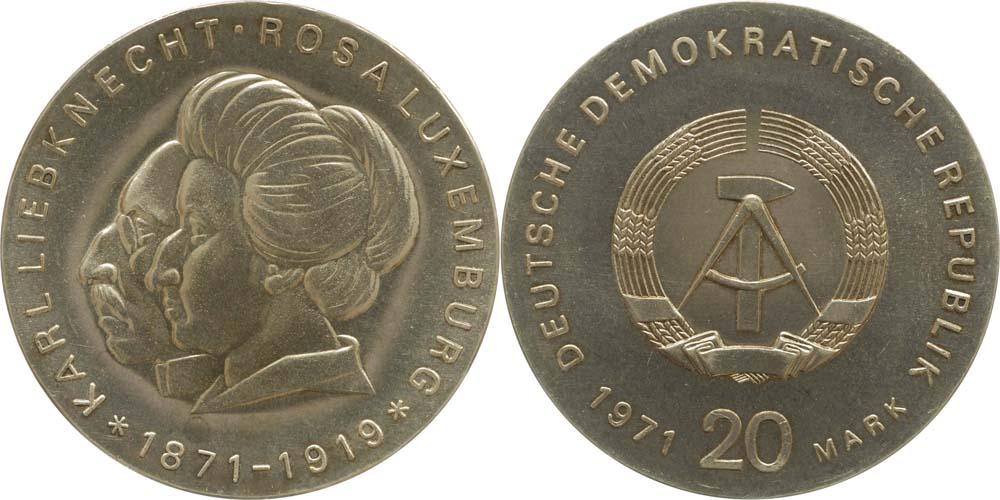 Lieferumfang:DDR : 20 Mark Karl Liebknecht & Rosa Luxemburg  1971 Stgl.