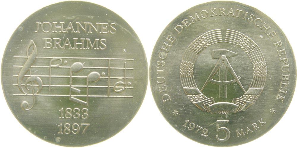 DDR : 5 Mark Johannes Brahms  1972 Stgl.