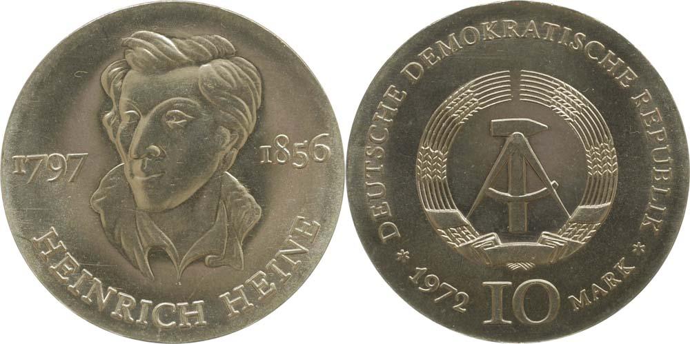 Übersicht:DDR : 10 Mark Heinrich Heine  1972 Stgl.