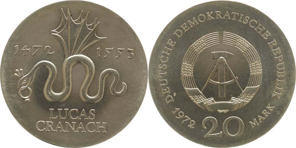 Lieferumfang:DDR : 20 Mark Lucas Cranach  1972 Stgl.