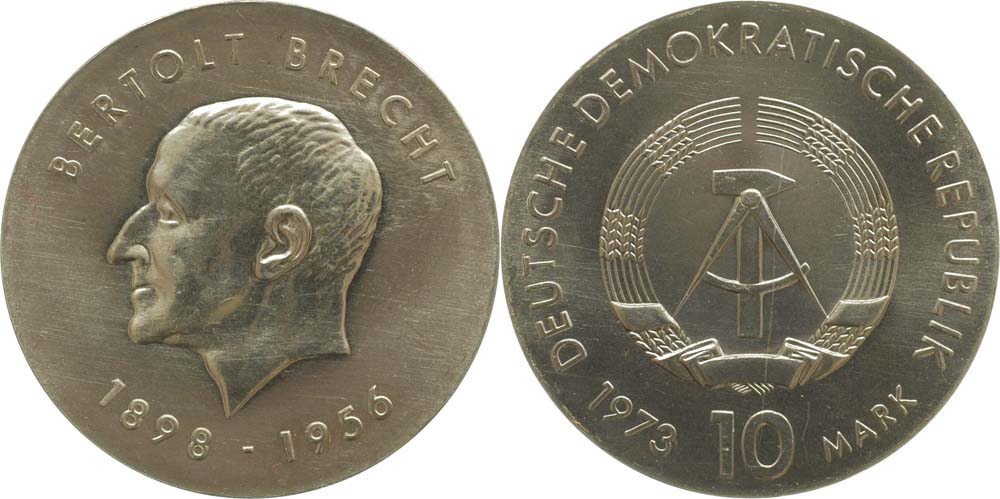 DDR : 10 Mark Bertolt Brecht  1973 Stgl.