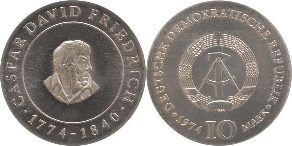Übersicht:DDR : 10 Mark Caspar David Friedrich  1974 Stgl.