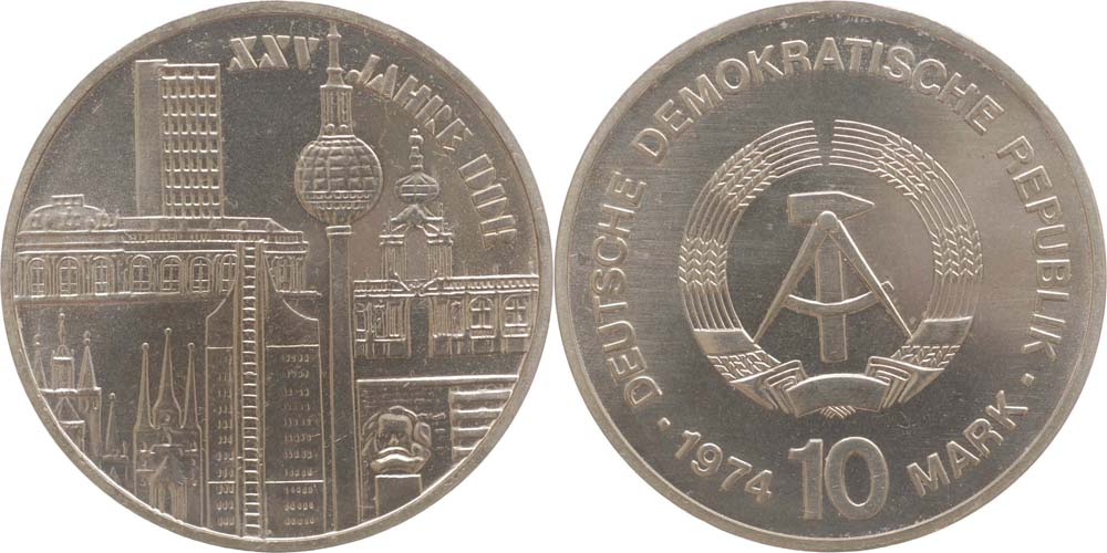Lieferumfang:DDR : 10 Mark Städtemotiv  1974 Stgl.