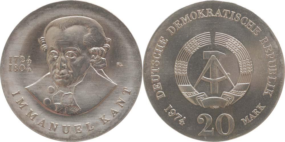 Übersicht:DDR : 20 Mark Immanuel Kant  1974 Stgl.