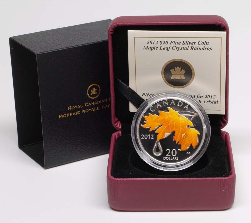 Kanada : 20 Dollar Ahornblatt mit Regentropfen IV (Swarovskikristall), farbig  2012 PP