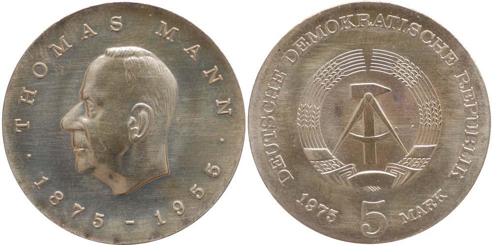 Lieferumfang:DDR : 5 Mark Thomas Mann  1975 Stgl.