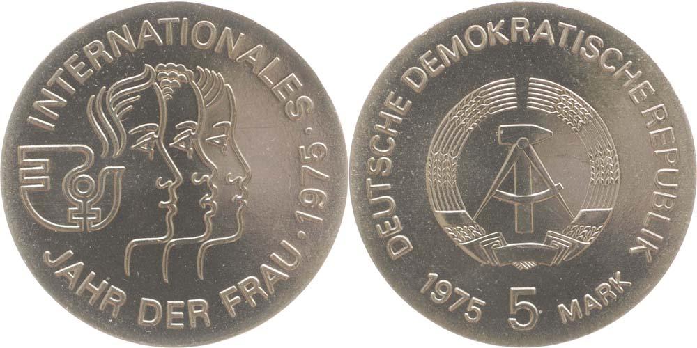 Übersicht:DDR : 5 Mark Jahr der Frau  1975 Stgl.