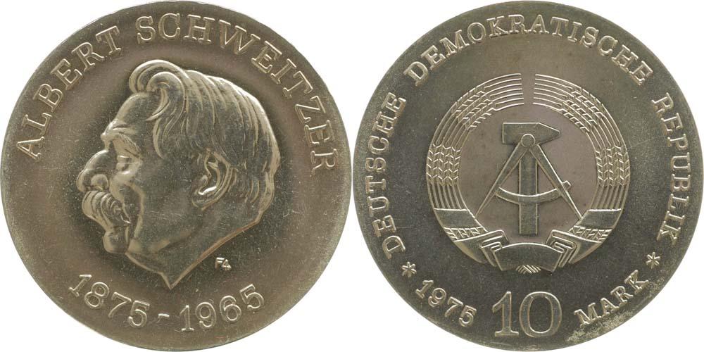 Lieferumfang:DDR : 10 Mark Albert Schweitzer  1975 Stgl.