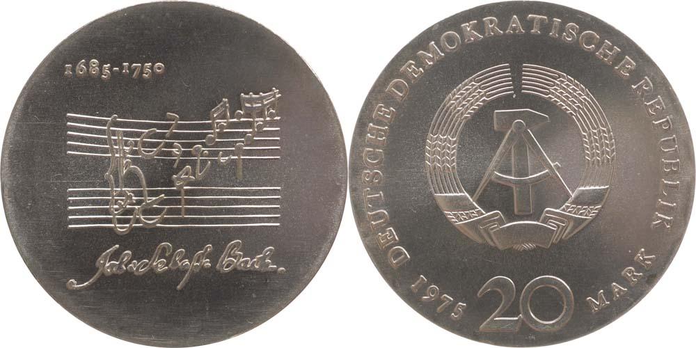 Übersicht:DDR : 20 Mark Johann Sebastian Bach  1975 Stgl.