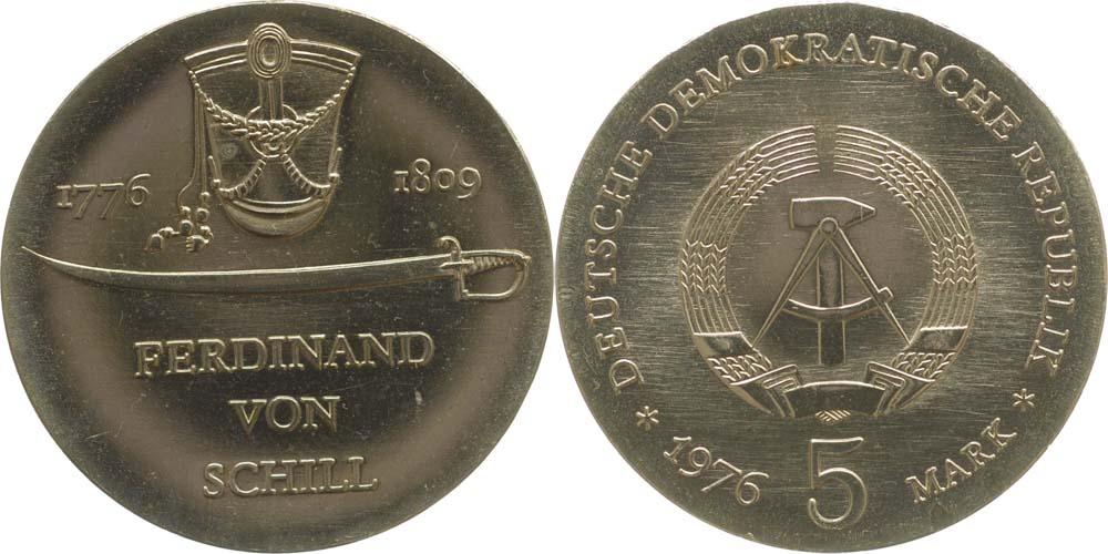 Lieferumfang:DDR : 5 Mark Ferdinand von Schill  1976 Stgl.