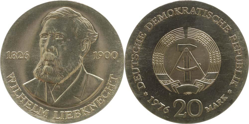 Lieferumfang:DDR : 20 Mark Wilhelm Liebknecht  1976 Stgl.