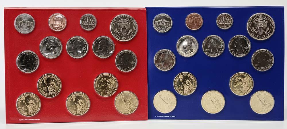 USA : 2x 6,91 Dollar Jahressatz 2012 incl. 5x 25 Cent D+P  2012 Stgl.