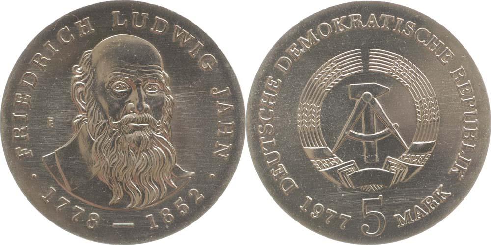 Lieferumfang:DDR : 5 Mark Friedrich Ludwig Jahn  1977 Stgl.