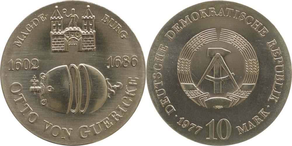 Lieferumfang:DDR : 10 Mark Otto von Guericke  1977 Stgl.