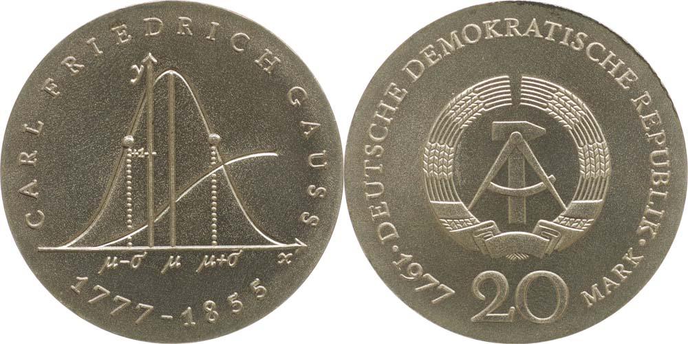 Übersicht:DDR : 20 Mark Carl Friedrich Gauß  1977 Stgl.