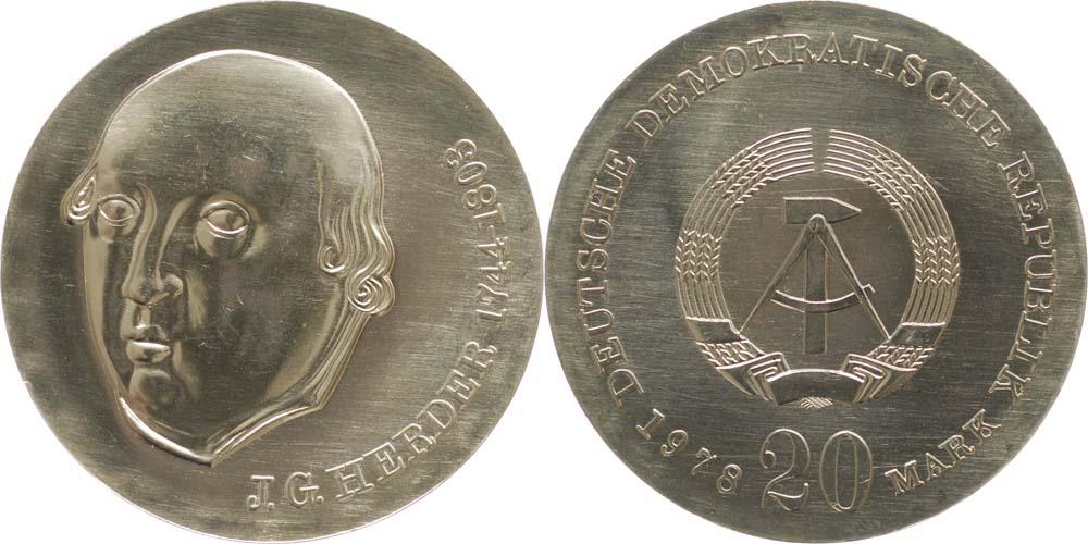 Lieferumfang:DDR : 20 Mark Johann Gottfried Herder  1978 Stgl.