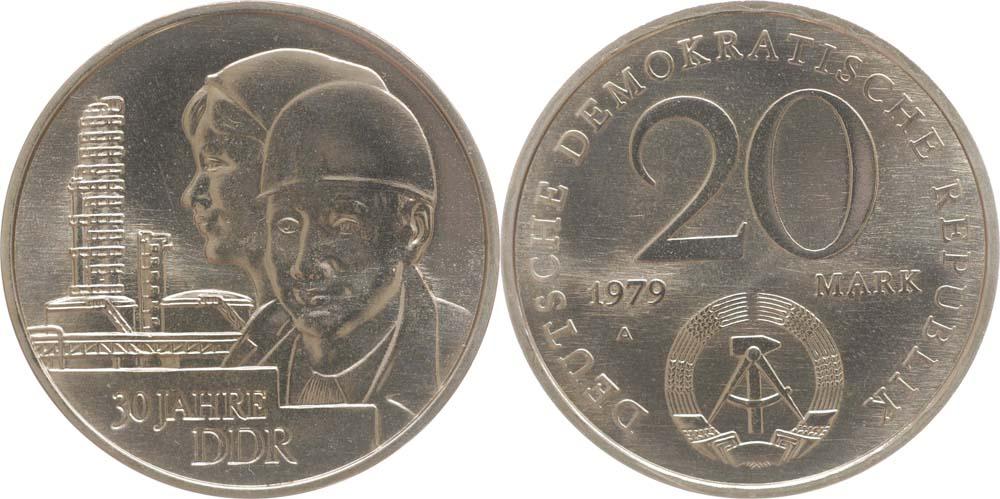 DDR : 20 Mark 30 Jahre DDR  1979 vz/Stgl.