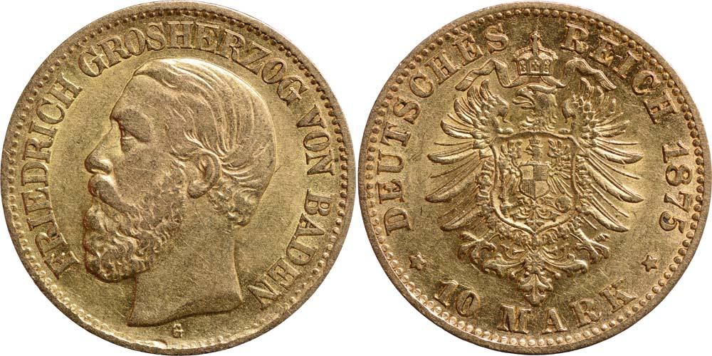 Lieferumfang:Deutschland : 10 Mark Friedrich winz. Rs. 1875 ss.
