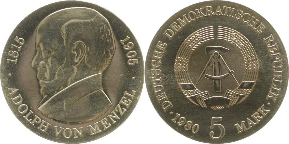 Übersicht:DDR : 5 Mark Adolph von Menzel  1980 Stgl.